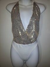 NEW WITH TAG, GOLD AND IVORY SEQUIN BODY SUIT, SIZE SMALL