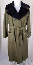 Vintage Smug Long Belted Cape Top Fur Lined All Weather Trench Coat Womens M L