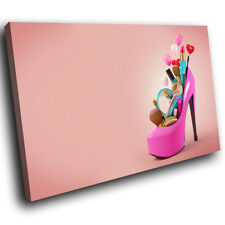 E034 Pink High Hell Makeup Fashion Modern Canvas Wall Art Large Picture Prints