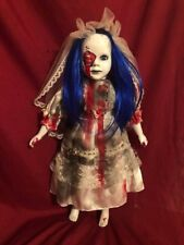 OOAK Blue Hair Vampire Bride Gothic Horror Doll Art by Christie Creepydolls