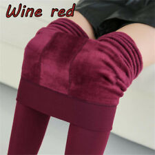 Women Thermal Thick Warm Fleece Lined Winter Tight Pencil Leggings Pants Wine Red
