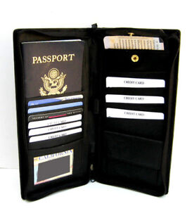Black Leather Travel Organizer Passport Cover Wallet Ticket Card Zip Holder