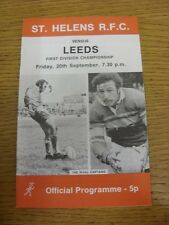 20/09/1974 programma Rugby League: ST. Helens V LEEDS. l'oggetto sembra essere in go