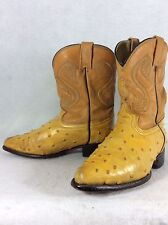 Kids Montenegro Cowboy Boots Tan Leather Ostrich Youth Size 12.5 or Mex Sz 19.5