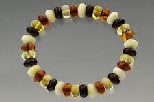 Button Shape Beads Genuine Baltic Amber Stretch Bracelet 9g b170607-14