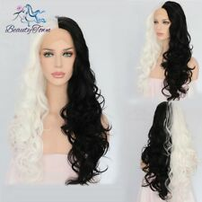Half Black Half White Color Natural Hair Synthetic Lace Front Wig Cosplay Wig