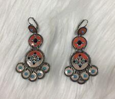 GAS Bijoux France Chandelier Enamel Crystal Earrings Orange Blue Signed Maroccan