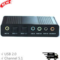 USB External S/PDIF Optical Sound Card Stereo Channel 5.1 DAC Audio Line In