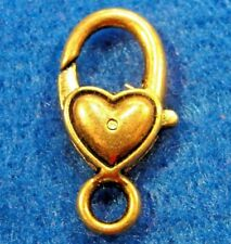 5Pcs. Tibetan Antique Gold Heart Lobster Clasps 27mm Hooks Findings Cl75