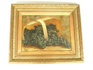 A D GROVE STILL LIFE OIL PAINTING FOLK ART VICTORIAN