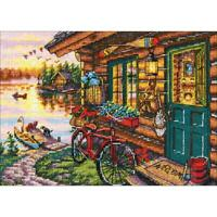 """Dimensions Gold Collection Petites Counted Cross Stitch Kit Cabin View 5""""X7"""" New"""