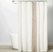 Threshold Stripe Shower Curtain Beige & Ivory Linen Embroidered ~72×72 ~ Cotton