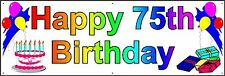 HAPPY 75th BIRTHDAY BANNER 2FT X 6FT NEW LARGER SIZE