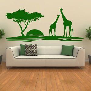 Safari Sunset Adesivo Murale Giraffe Adesivo Da Parete Ragazzi Camera da letto