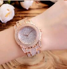 Stainless Steel Rose Gold Iced out Paved Fashion  Bling Hip Hop Rap Quartz Watch