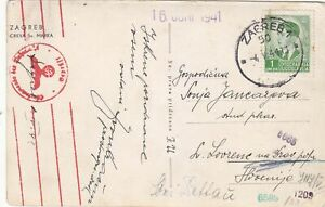 YUGOSLAVIA  1941 POSTCARD FROM ZAGREB WITH SS GERMAN CENSORMARK