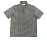 Carnoustie Performance Mens L Large Brown Polo Golf Shirt Plaid Short Sleeve