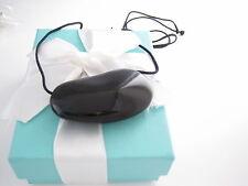 TIFFANY & CO PERETTI BLACK LACQUER 2 INCH BEAN 29.5 INCH BLACK SILK CORD BOX