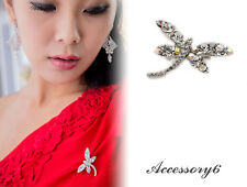 fashion insect dragonfly clear white crystal silver plate Brooch pin jewelry D33