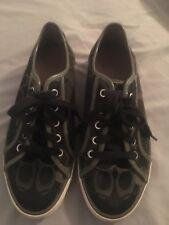 "Coach Women's Barrett Black Large gray""C"" Logo Sneakers Tennis Shoes Size 9 B"