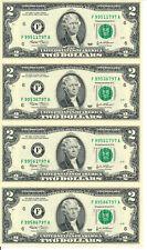 UNCUT SHEET OF (4) 2003 $2 FEDERAL RESERVE NOTES ATLANTA DIST CRISP UNCIRCULATED