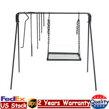 Campfire Cooking Stand Outdoor Cooking Bbq Grill Steel Material 6x Hooks Black