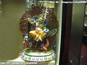 "36""Tibet Buddhism Pure Bronze 24K Gold Painted White Jambhala Buddha Sit Dragon"