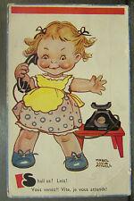 cpa illustrateur fantaisie signée mabel lucie attwell humour fillette telephone