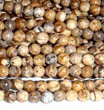 "GR177f Picture Jasper 4mm Round Natural Gemstone Drilled Beads 16"""