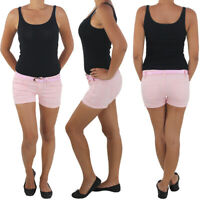 Hot Pants mit Gürtel Damen Hotpants Capri Jeans Shorts Kurze Hose Hüft Stretch