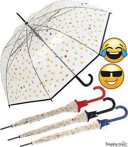 Regenschirm durchsichtig transparent Automatik Emoticon lustig bedruckt mit Emoj