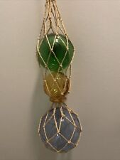 """Three Glass Ball Floats Wrapped in Twine - Cobalt,Green,Yellow -20"""" Wall Hanging"""