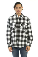 YAGO Men's Casual Plaid Flannel Long Sleeve Button Up Shirt White/A-1 (S-5XL)