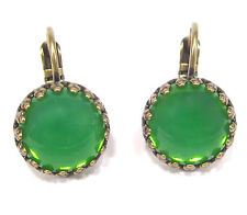 SoHo® Ohrhänger Ohrringe bohemia Glas grün opal handgemachte Glassteine Kronen