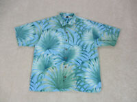 Tommy Bahama Button Up Shirt Adult Extra Large Blue Floral Print Casual Men A30*