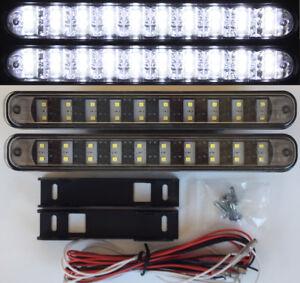 LED Tagfahrleuchten 20 SMD schwarz E-Prüfzeichen E4 R87 DRL Xenon white 6000K M9