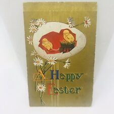 Vintage Postcard EASTER 1910 Yellow Chicks Daisys Greetings Card