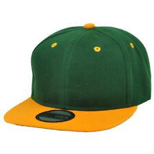 Green Yellow Blank Plain Solid Snapback Flat Bill Hat Cap Headlines Adjustable