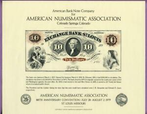 ABNC 1979 ANA SO10 Souvenir Card 1860's $10 Exchange Bank of St. Louis Obv.