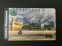 Telstra Phonecard $10  WWII Fighters - Messerschmitt* USED* Single Hole
