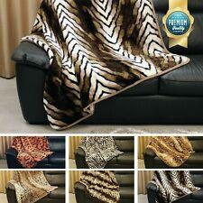 Animal Skin Throw Faux Fur Fleece Travel Blanket SOFA BED SETTEE Warm Cosy LARGE