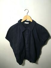 issey miyake sport navy peter pan collar button down checked blouse size s-m