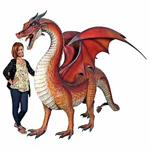 """NE100043 - The Red Welsh Dragon Monument-Sized Statue: 9"""" Long Giant! - New!"""