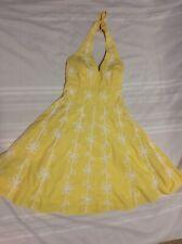 Lilly Pulitzer Womens Size 2 Willa Lemon Yellow Ribbon Detail Halter Dress EUC