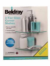 2 Tier Glass Corner Shelves Shelf Bathroom Bath
