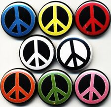 "Peace signs 8 NEW 1"" buttons pins badges world love anti-war no hippie woodstock"