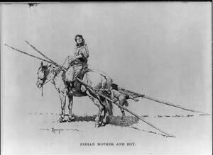 Photo:Illustration by Frederic Remington: Indian mother,boy,horseback 5815