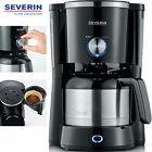 Severin Filter Kaffeemaschine Thermoskanne Isolier Thermo Kanne Edelstahl NEU <br/> TypeSwitch Regler für Aromawahl, blaue LED-Beleuchtung
