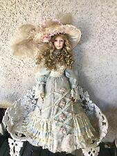 "Signed Thelma Resch Porcelain Doll 36"" Victorian Gown & Hat Limited Edition #83"