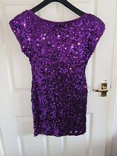 Ladies TFNC London Dress Purple Sequin BNWT festive Christmas Size L Natacha